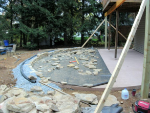Concrete Patio, Natural Stone Wall, Landscape & Lawn Install/Construction